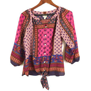 fig & flower pink purple boho tie button front top